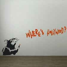BANKSY WHERE'S HOLLYWOOD RAT VINYL WALL ART DECAL STICKER SIZE IS 60CM* 90CM