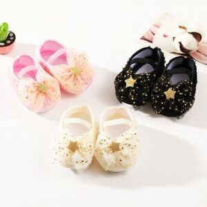 Infant Newborn Baby Girls Soft Cotton Crib Shoes Walking Prewalker Flat