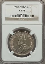 1925 South Africa 2 1/2 Shillings NGC AU 58 Scarce Date