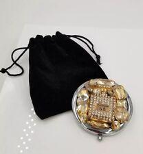 Glitz, Gold & Silver Parfum N5 Bottle Mirror Compact *Beautiful W/ Orig Pouch 19