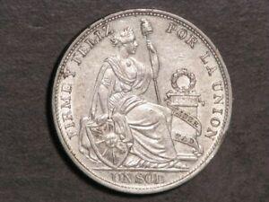 PERU 1895TF 1 Sol Silver Crown AU-Unc