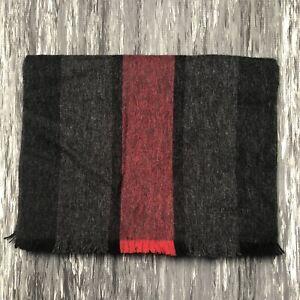 COACH Cashmere Wool Scarf Grey Red Herringbone Stripe NWOT