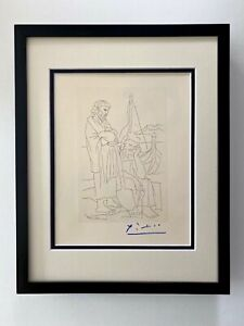 PABLO PICASSO ORIGINAL 1962 SIGNED SUPERB ENGRAVING MATTED 11 X 14 + LIST $895