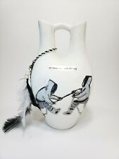 Canadian Inuit First Nations Wedding Vase 22K White Gold Etching Artist Sheila
