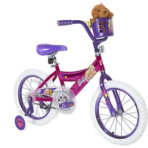 "Dynacraft 16"" Barbie Girls' Bike with Plush Puppy, Pink"