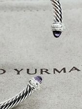 David Yurman Sterling Silver 4mm Cable W/diamonds & Amethyst bracelet szMedium