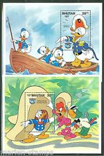 Bhutan Disney Donald Duck Scott#469/70 Souvenir Sheets Mint Nh
