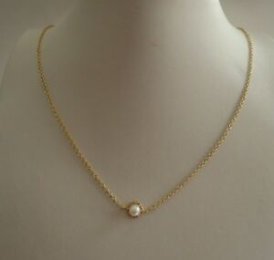 PEARL CENTER NECKLACE PENDANT W/ ACCENTS / 14K YELLOW GOLD OVER STERLING SILVER