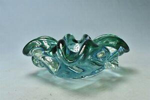 Vintage MCM MURANO HAND BLOWN THICK HEAVY ART GLASS ASHTRAY BOWL BLUE GREEN 1885