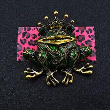 Frog Crystal Charm Brooch Pin Gift Betsey Johnson Green Rhinestone Cute Crown