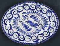 "Anfora (Mexico) Puebla Blue 12 1/8"" Oval Serving Platter 5463092"