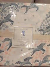 4pc Pottery Barn Kids Clara Sheet Set 350 thread count queen horse sateen Pink Q