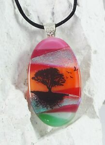 Handmade Crafted OVAL Dichroic Fused Glass Scenic Tree Pendant with Necklace S14