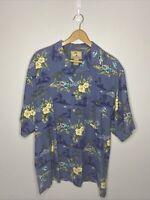 Jamaica Jaxx Men's Blue Floral Hawaiian Silk Short Sleeve Shirt Size M 🌴🌴