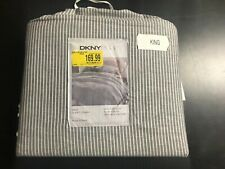 "BRAND NEW DKNY PURE STRIPE KING SIZE DUVET COVER GREY COLOR 110"" x 96"""