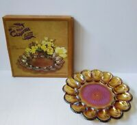 Indiana Carnival Glass Hobnail Deviled Egg Relish Dish Iridescent Amber Gold Box