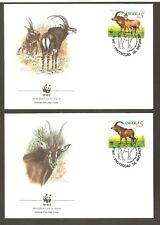 1990   ANGOLA  -  4 x WWF FIRST DAY COVERS  -  SABLE ANTELOPE