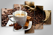 Quadro Moderno 5 pz. COFFEE BREAK 5 pz. cm 150x90 arredamento stampa su tela bar