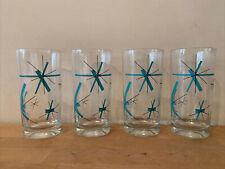 Set of 4 Vintage Salem North Star Atomic Starburst Mcm Tumblers Glasses 5 1/2�