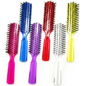 """Luxxii (6 Pack) 7.5"""" Plastic Clear Handle Nylon Bristle Brush Hair Pocket Comb"""