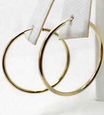 14K Yellow Gold 28 MM  Plain Shiny Hoop Earrings Width 1.5 MM