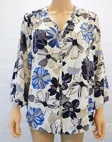 Charter Club Womens Top Floral Print V Neck Blouse Birch Tree Blue Gray XL $79