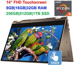 "2021 Dell 14"" FHD 2-in-1 TouchScreen AMD Ryzen 5, Upto 4.0GHz, 32GB RAM&1TB SSD"