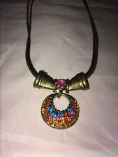 Multi-Color Crystal Rhinestone Brass Cord Necklace