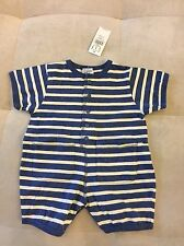 New Baby Gap Boys Outfit Shortall Size 0-6 Month Cotton Blue White Soft
