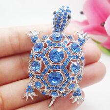 New Gorgeous Blue Turtle Silver-tone Brooch Pin Rhinestone Crystal Tortoise