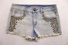 New Boom Boom Jeans Womens Light Wash Studded Cotton Denim Jean Shorts Size 7
