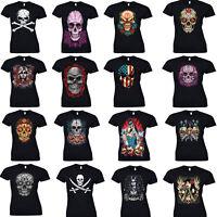Ladies Mexican Sugar Skull T Shirt Day Of Dead Tattoo Rock Metal Biker Goth Top