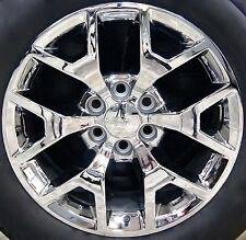"4 New GMC Sierra Yukon CHROME 20"" Wheels Rims Factory Caps & Lug Nuts Included"