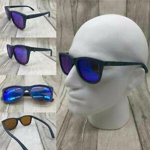 Men's Ebony Wood & Denim Frame Blue Mirror TAC Polarized Sunglasses UV 400