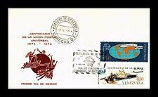 Dr Jim Stamps Universal Postal Union Centenary Fdc Venezuela Monarch Size Cover