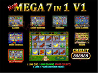 New Mega 7X Casino game board PCB (7 in 1) for coin operated slot game machine