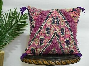 Traditional Moroccan Pillow berber Vintage-Handmade Cover 17 / 17 inches