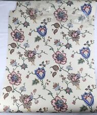 "One Double Roll Wallpaper Seabrook Jacobean Vines Blue Wine on Ecru 20"" wide"