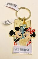 Walt Disney World Mickey & Minnie Sleeping Beauty Castle #1 Nurse Keychain NWT!