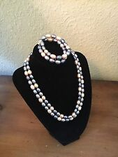 vintage baroque pearl necklace & Bracelet Dyed Grey Cream Soft Lavender 14 KT