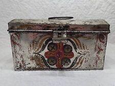 Antique 19th.c Pennsylvania Tin Toleware Lunch or Document Box w Original Paint
