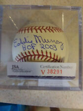 "EDDIE MURRAY SIGNED AUTOGRAPH BASEBALL""HOF 2003"" BALTIMORE ORIOLES JSA WITH CUBE"