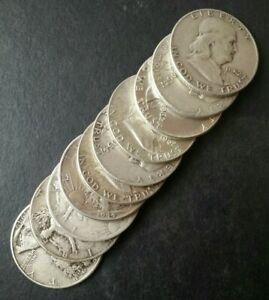Lot of Ten 50c United States Silver Half Dollars
