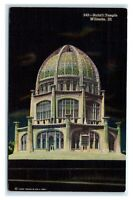 Postcard Baha'i Temple, Wilmette IL at night 1955 M21