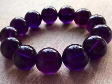 18mm Old material 100% Natural Amethyst Gemstone Round Beads Bracelet Uruguay