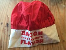 Bacon Is My Favorite Flavor Lightweight Cloth Adjustable Size Red Top Chef's Hat
