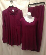 New- Roamans 3 piece 2x jacket tank top shirt set 1x Pants Stretch Crinkle