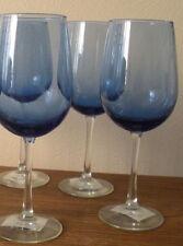 """Set 4 Cobalt Large Tulip Shaped Red Wine 18 oz Blue Glass Bowl Clear Stem 9.25"""""""