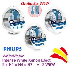 2x PHILIPS WHITE VISION +60% H1 H4 H7 lámpara coche 3700K +2x W5W EFECTO XENON