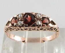 LOVELY 9K 9CT ROSE GOLD MADAGASCAN GARNET & PEARL HALF HOOP RING FREE RESIZE